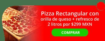 Pizza Rectangular con orilla de queso + refresco de 2 litros por $299 MXN - Pizza Ian
