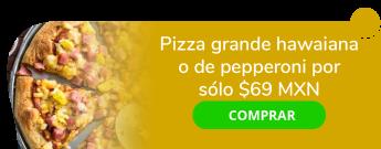 Pizza grande hawaiana o de pepperoni por sólo $69 MXN - Italian Pizza