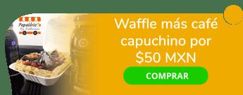 Waffle más café capuchino por sólo $50 MXN - Papa Loriens