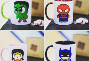 Mug de super héroe con color interno y oreja + domicilio $20.000
