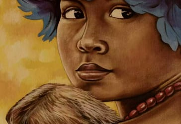 Pintura de niña con oso perezoso por solo $160.000