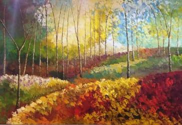 Cuadro en óleo sobre lienzo bosque siena por $1.900.000