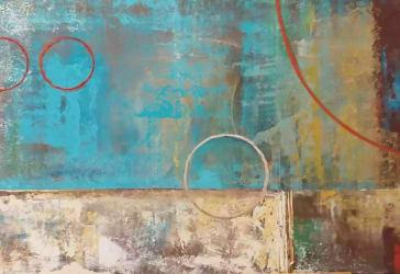Cuadro abstracto Turquesa en óleo por $1.152.000