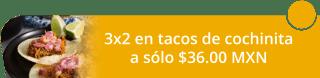 ¡Aprovecha! 3x2 en tacos de cochinita a solo $36.00 MXN - Moloch Cochinita Pibil