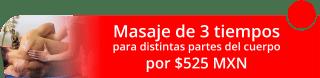 Masaje de 3 tiempos para distintas partes del cuerpo $525 MXN. - RyM Spa