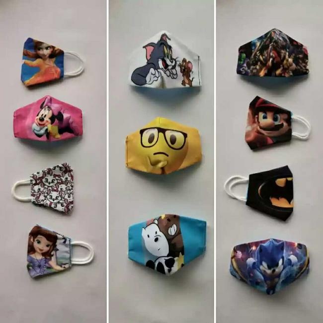 Tapabocas infantil en diseños animados