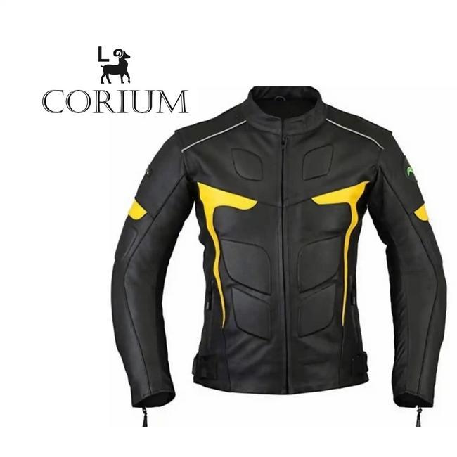 Chaqueta para moto caballero, negro y amarillo