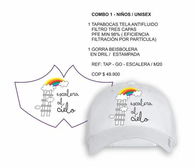 Tapabocas y gorra unisex