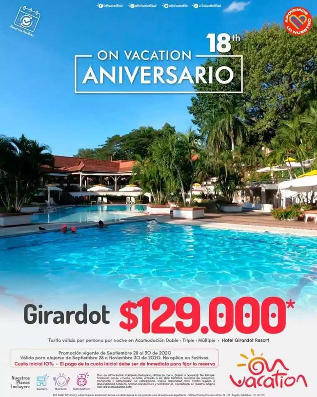 Girardot + hospedaje + alimentación + asistencia médica