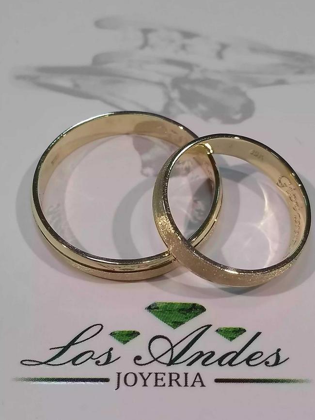 Argollas matrimonio plata con baño de oro