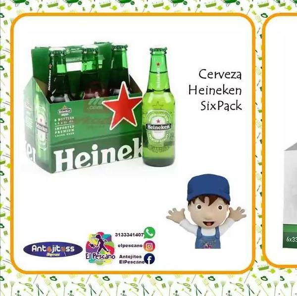 Six pack de cerveza Heineken