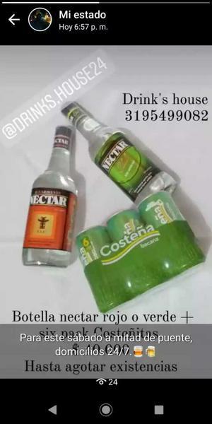 Botella de aguardiente Néctar + six pack de Costeña bacana