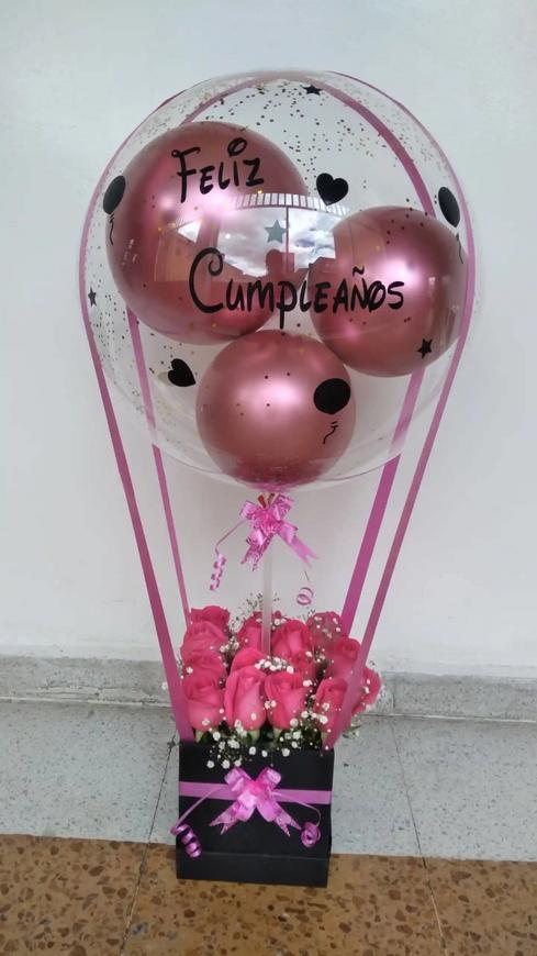 Rosas en caja + globo
