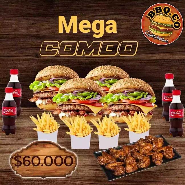 Mega combo de 4 hamburguesas