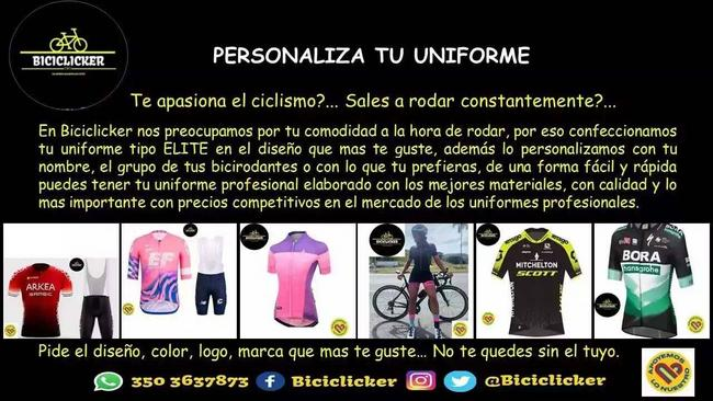 Uniformes para ciclismo tipo élite personalizados