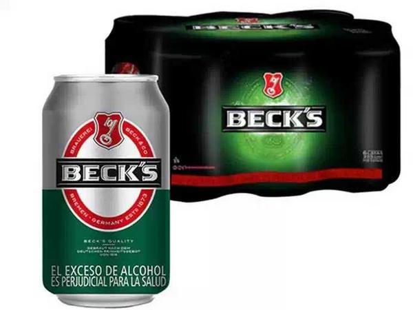 Six pack de cerveza Becks en lata