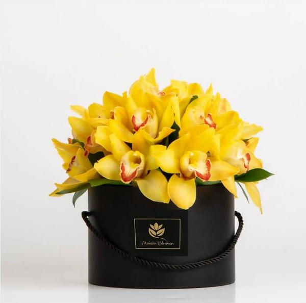 Arreglo Orquídeas Cimbydium Amarillo