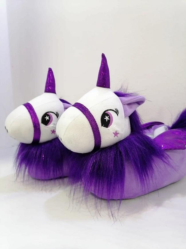 Babuchas de unicornio lila-morado