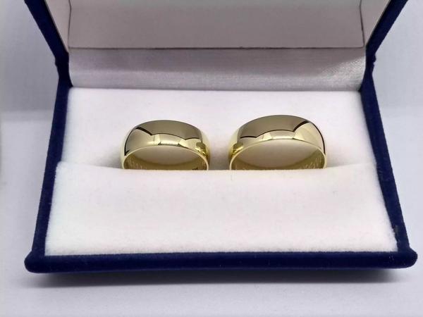 Argollas matrimonio plata ley 950 baño de oro 24k