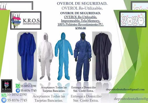 Overol de seguridad re-utilizable y lavable por $350 MXN