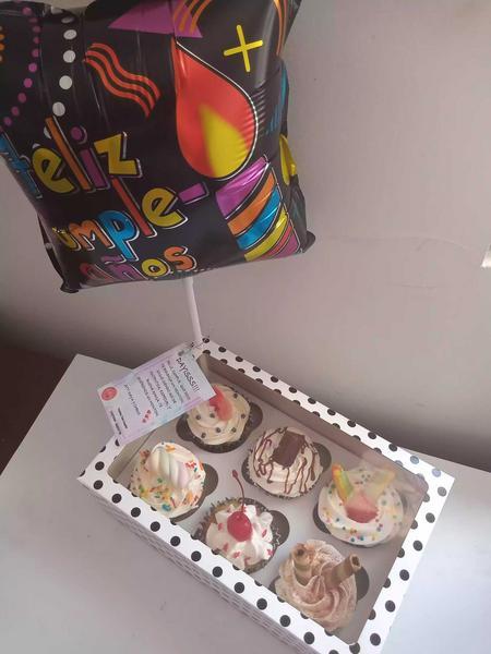 Cupcakes en box de lujo x 6