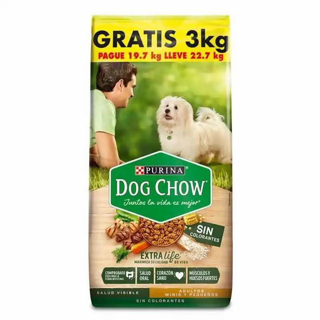 Dog Chow sin colorantes para adultos pequeños 22,7Kg