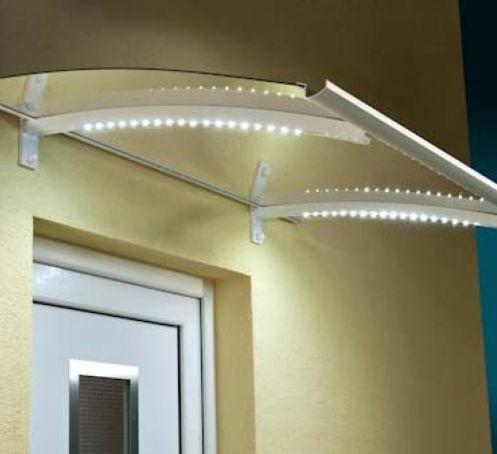 Marquise pour porte d'entrée avec éclairage LED Corfou 150x90 Blanc