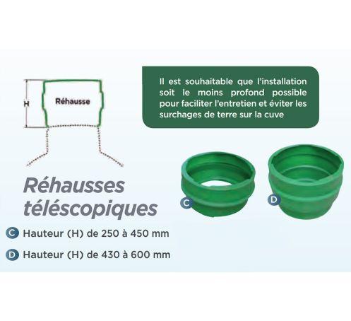 Rehausse telescopique 250/470mm pour cuve