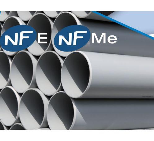 Tube PVC gris bâtiment, NF