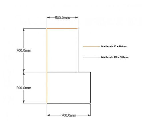 Kit gabions , 120cm (H) x 50cm + 70cm, pour soutènement
