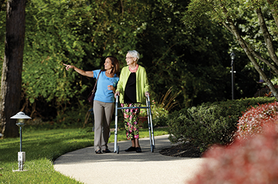 Walking in a park with Caregiver