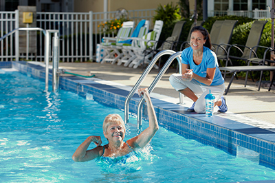 A Comfort Keeper poolside in Covington, GA