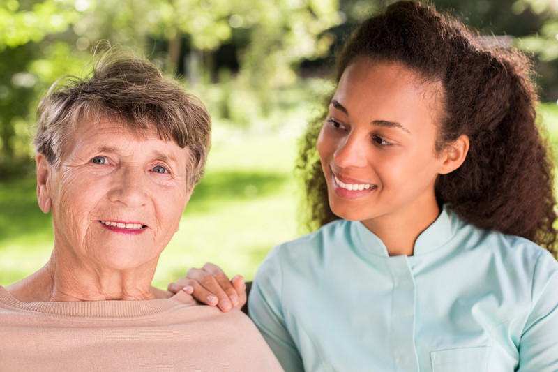 A home care provider with a senior woman in Evans, GA