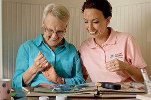 Caregiver Providing Interactive Care to a Senior