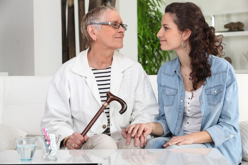 Talking about interim home care services with a family member