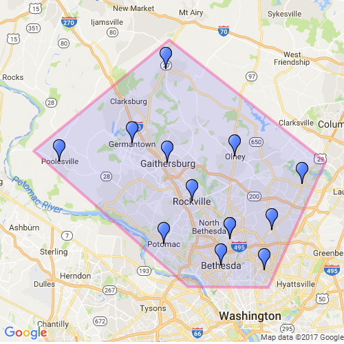 Comfort Keepers Rockville Coverage Map Including Montgomery County