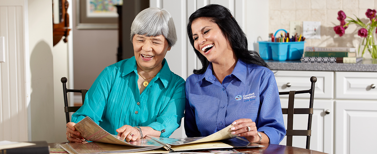 Comfort Keepers Caregiver providing in home companionship care to a senior in Cherry Hill, New Jersey.