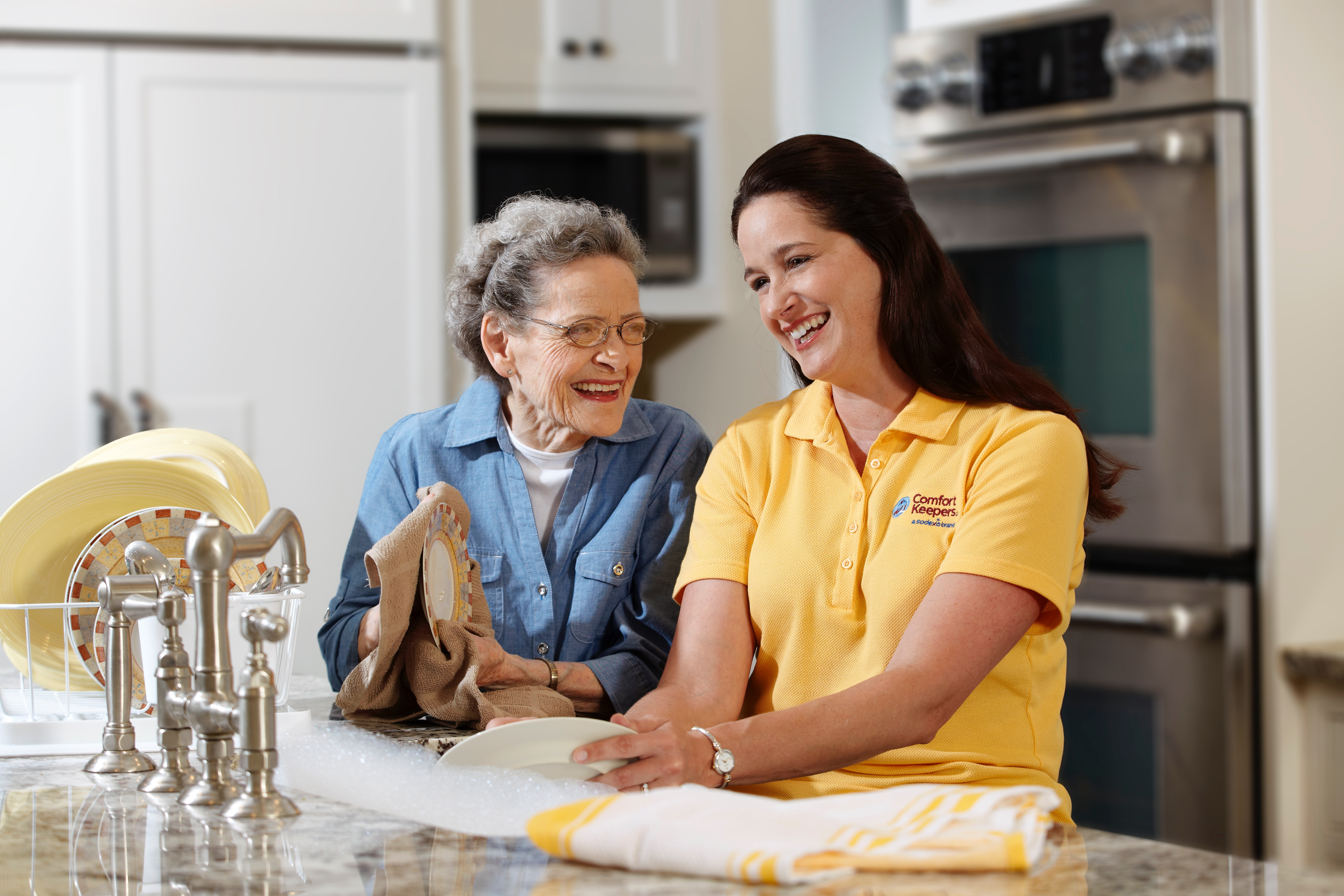 live-in caregiver taking care of senior