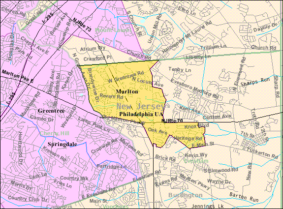 Map of Marlton, NJ where Comfort Keepers provides in home care services for seniors