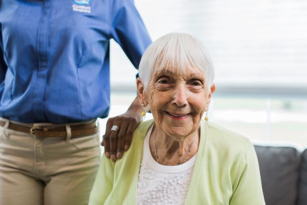 Resident who is receiving 24-hour home care with her caregiver in La Mirada, CA