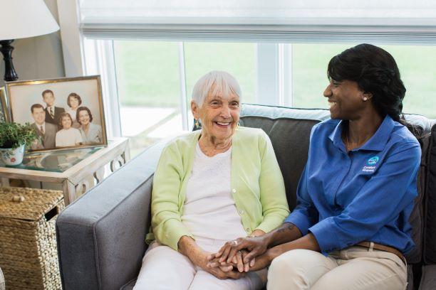 Senior receiving respite care in her living room in Durango, CO