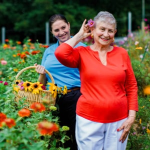 Senior with her caregiver who is providing personal home care in Houston, TX