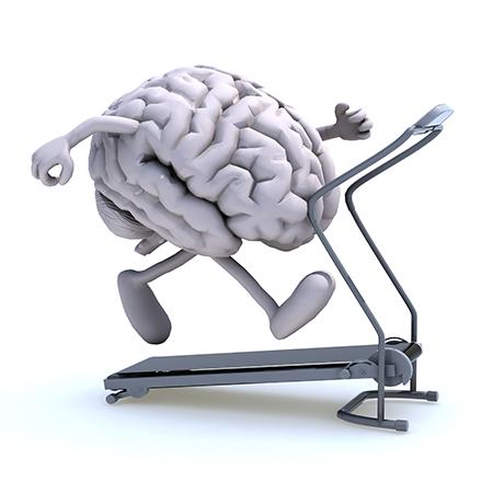 Human brain exercising on running machine