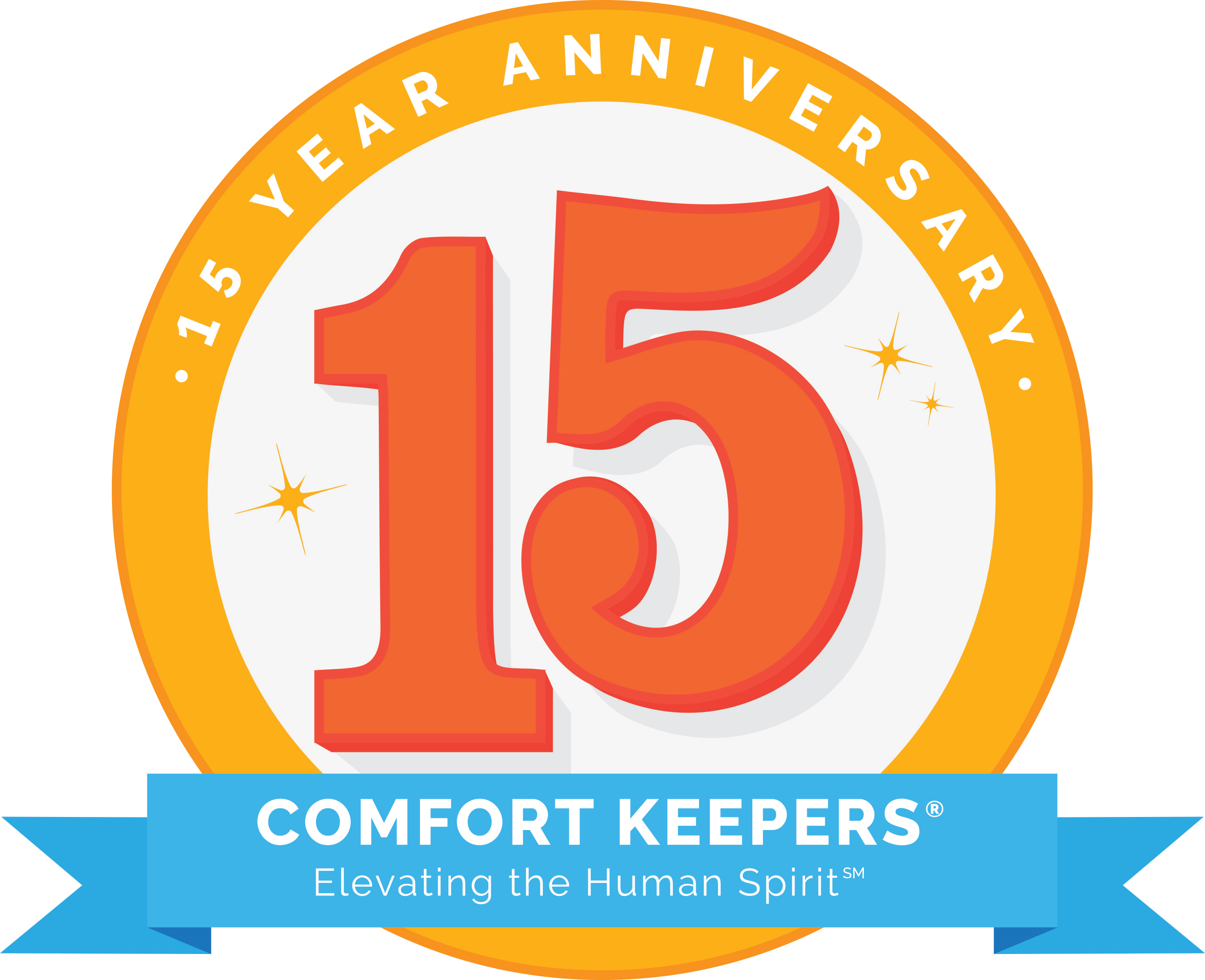 Comfort Keepers Home Care 15 Year Anniversary Logo