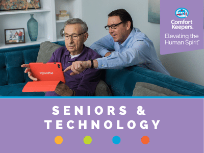 Comfort Keepers Home Care Graphic for Seniors and Technology - shows a caregiver teaching senior how to use a smart tablet