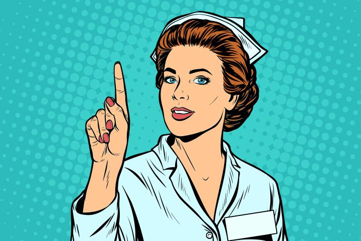 woman nurse attention gesture. woman nurse attention gesture. Pop art retro vector illustration kitsch vintage. woman nurse attention gesture