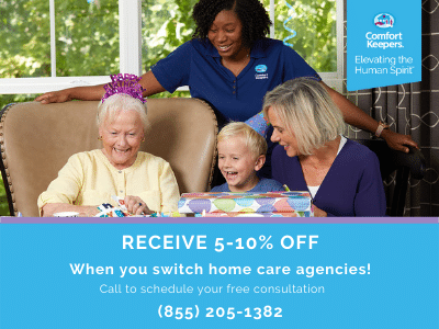 Receive 5-10% off when you switch home care agencies! Contact our office today to schedule your free, no-obligation consultation.