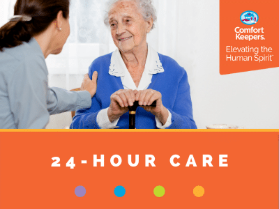 Comfort Keepers Home Care Graphic for 24-Hour Care - photo of caregiver touching a senior's shoulder.
