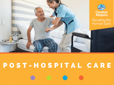 Comfort Keepers Home Care Graphic for Post-Hospital Care - photo of caregiver helping senior get out of bed.