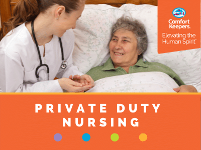 Comfort Keepers Home Care Graphic for Private Duty Nursing - photo of senior in bed holding a nurse's hand.